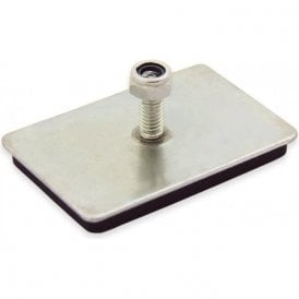 60 x 40 x 7mm thick Neodymium Magnetic Pad with M6 Threaded Stud - 10kg Pull (Pack of 1)