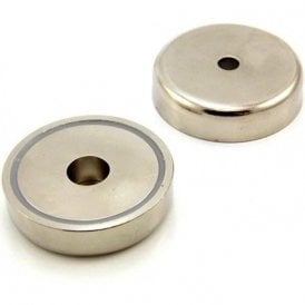 60mm dia x 14.5mm thick x 8mm c/bore N42 Neodymium Pot Magnet - 139kg Pull ( Pack of 10 )