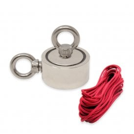 60mm dia x 22mm N42 Neodymium Pot Magnet with 2x M8 Eyebolts + 10 metre Rope - 120kg Pull