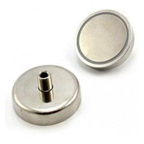 60mm dia x 28mm tall x M8 thread N42 Neodymium Pot Magnet - 139kg Pull