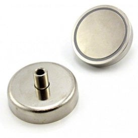 60mm dia x 28mm tall x M8 thread N42 Neodymium Pot Magnet - 139kg Pull