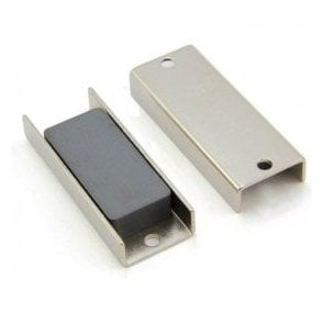 69 x 27 x 11.8mm thick (x 4mm hole) Ferrite Channel Magnet - 10kg Pull