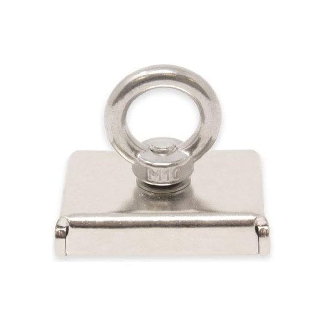 75 x 55 x 20mm N42 Neodymium Pot Magnet with M10 Eyebolt - 110kg Pull