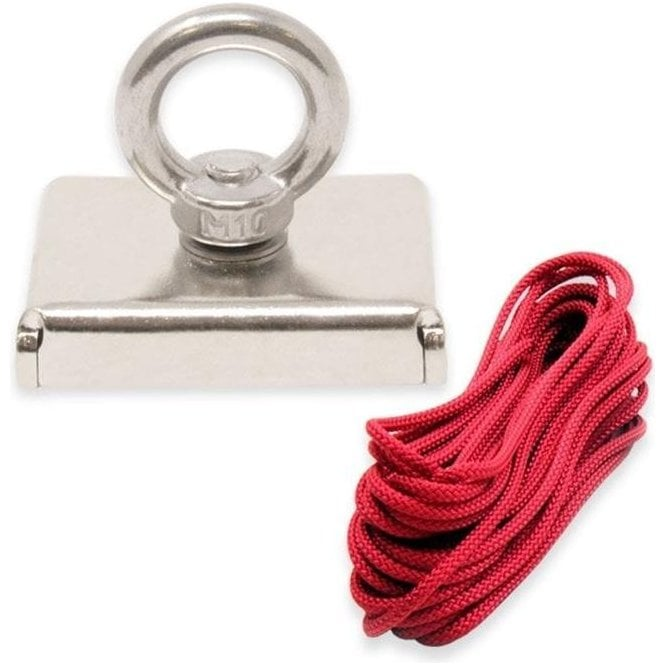 75 x 55 x 20mm N42 Neodymium Pot Magnet with M10 Eyebolt and 10 metre Rope - 110kg Pull