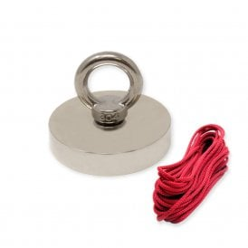 75mm dia x 15mm N42 Neodymium Pot Magnet with M10 Eyebolt + 10 metre Rope - 200kg Pull