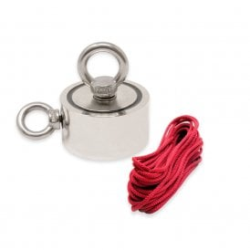 75mm dia x 25mm N42 Neodymium Pot Magnet with 2x M10 Eyebolts + 10 metre Rope - 200kg Pull