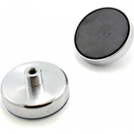 80mm dia x 32mm tall x M10 thread Ferrite Pot Magnet - 60kg Pull