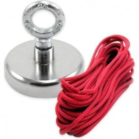 80mm dia x 70mm tall Ferrite Recovery Magnet with M10 Eyebolt and 10 Metre Rope - 60kg Pull
