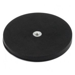 88mm dia x 8mm high Black Boutique Magnet c/w M6 Boss Thread (Flush x 8mm deep) 42kg Pull