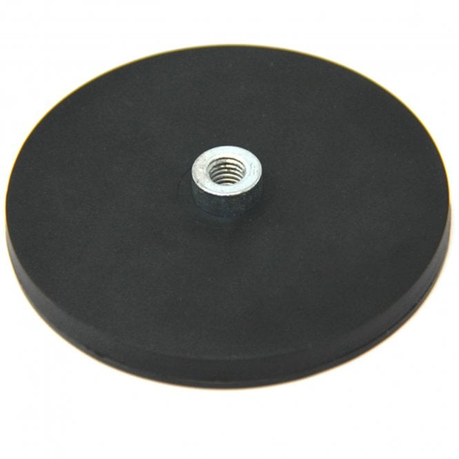 88mm dia x 8mm high Rubber Coated POS Magnet c/w M8 Boss Thread