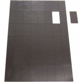 A4 Sheet of 48 Self Adhesive Magnetic Rectangles ( 50mm x 24mm x 0.7mm ) ( Pack of 40 )