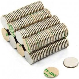 Adhesive 10mm dia x 1mm N42 Neodymium Magnet - 0.58kg Pull ( North ) ( Pack of 200 )