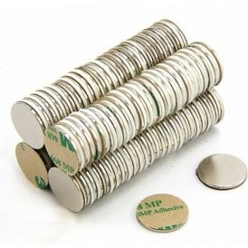 Adhesive 20mm dia x 1.5mm N42 Neodymium Magnet - 2kg Pull (North) (Pack of 100)