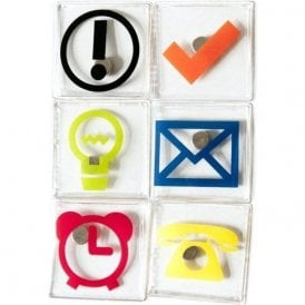 Assorted Office Symbol / Icon Magnets ( 1 set of 6 )