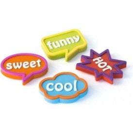 Assorted Rubber Expression Magnets - Fancy (1 set of 4)
