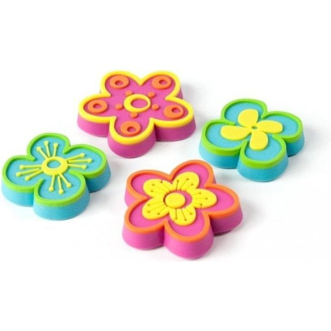 Assorted Rubber Expression Magnets - Flowers (1 set of 4)