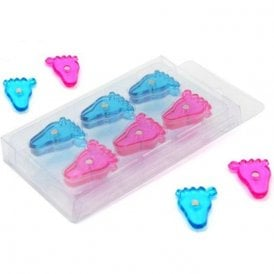 Blue & Pink Baby Feet Shaped Magnet ( 22mm dia x 4mm high ) ( 10 Packs of 12 )