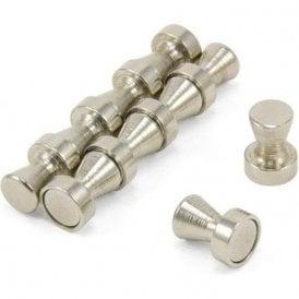 Chrome Skittle Pot Magnet ( 12mm dia x 16mm tall ) ( Pack of 10 )