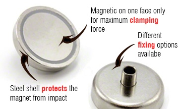 12mm diameter/wide magnets Pot & Clamping Magnets