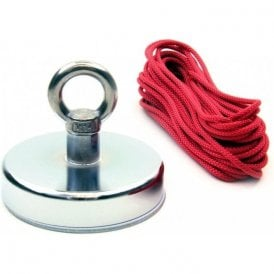 Ferrite Marine Recovery / River Fishing Magnet with Eyebolt & 10 Metre Rope - 130kg Pull (125mm dia x 100mm tall)