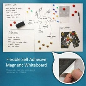 FerroFlex® 600mm Wide Flexible Ferrous Sheet - Standard Self Adhesive & Gloss White Dry Wipe Surface (1 Metre Length)