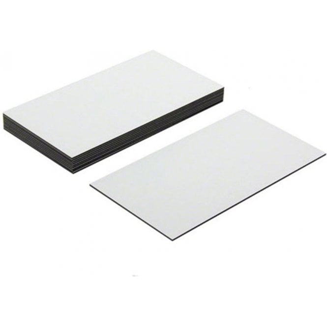Flexible Magnetic Labels with gloss white dry wipe surface (89 x 51 x 0.76mm)