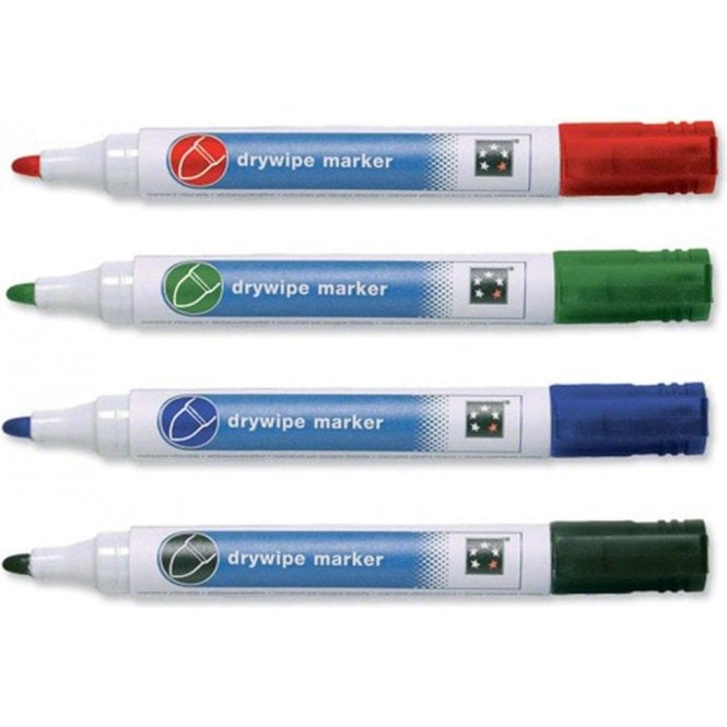 Four Assorted Dry Wipe Whiteboard Marker Pen Pack - 2mm Bullet Tip - Home & Office