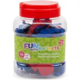 Fun with Magnets 108 Lowercase Magnetic Foam Letters + Punctuation (Red & Blue)