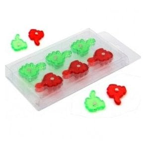 Green & Red Thumbs Up / Down Hand Shaped Magnet (22mm dia x 4mm high) (x12)