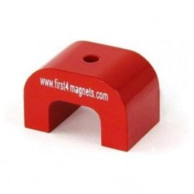 Large Red Alnico Horseshoe Magnet - 11kg Pull ( 30 x 45 x 30mm 4.5mm hole ) ( Pack of 1 )