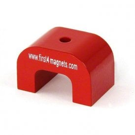 Large Red Alnico Horseshoe Magnet - 11kg Pull (30 x 45 x 30mm)