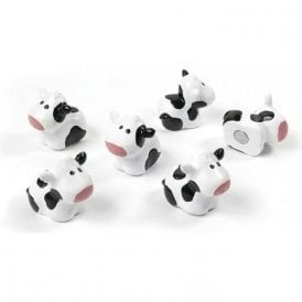 Magnets COW, Set of 6, Checkered (White/Black)