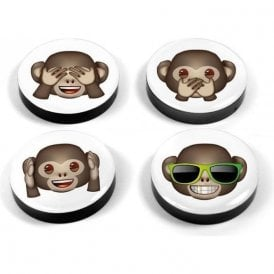 Magnets EMOJI MONKEYS, Set of 4 brown