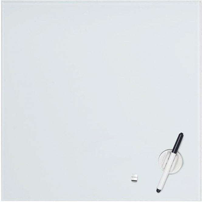 Medium Magnetic Glass Whiteboard c/w Marker (400 x 400mm)