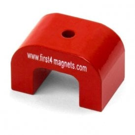 Medium Red Alnico Horseshoe Magnet - 9kg Pull ( 40 x 25 x 25mm 4.5mm hole) ( Pack of 1 )