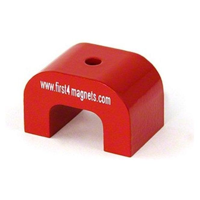 Medium Red Alnico Horseshoe Magnet - 9kg Pull (40 x 25 x 25mm)