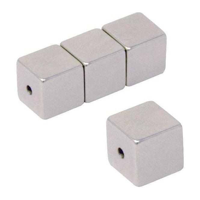 Neodymium Halbach Array Magnet 10 x 10 x 10mm with 2mm hole through the poles