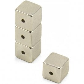 Neodymium Halbach Array Magnet 10 x 10 x 10mm with 2mm hole through the side (Pack of 4)