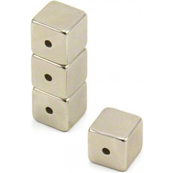 10 x 10 x 10mm N42 Neodymium Magnet with 2mm hole through The Side - 4.8kg Pull ( Pack of 80 )