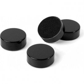 Plain Circular Office Magnets - Black ( 1 set of 4 ) ( 23mm dia x 9mm thick )