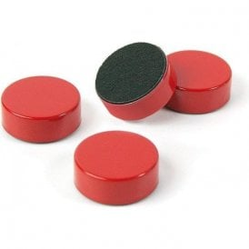 Plain Circular Office Magnets - Red (1 set of 4) (23mm dia x 9mm thick)