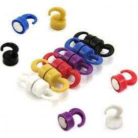 Rainbow Coloured Plastic Mini Magnetic Hooks - 1kg Pull (12mm dia x 20mm tall)