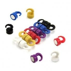 Rainbow Coloured Plastic Mini Magnetic Hooks - 1kg Pull ( 12mm dia x 20mm tall ) ( Pack of 12 )