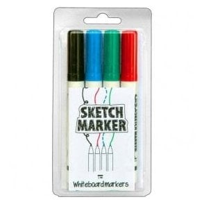 Sketch Paint dry-wipe marker pens 4 pack – Black/Blue/Green/Red