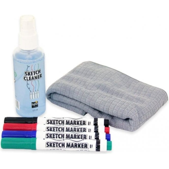Sketch Paint Kit - 4 Assorted Pens, 125ml Cleaner and Cleaning Cloth