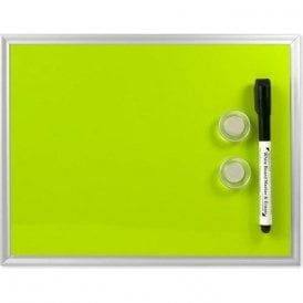 Small Magnetic Whiteboard c/w 2 Magnets & Marker - Green (216 x 280mm)