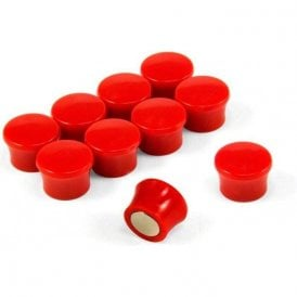 Small Red High Power 'Memo' Board Magnets - Office & Fridge (17.5mm dia x 12.3mm tall) (5 Packs of 10)