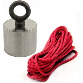 Stainless Neodymium Recovery / River Fishing Magnet with Eyebolt & 10 Metre Rope - 155kg Pull (80mm dia x 65mm tall)