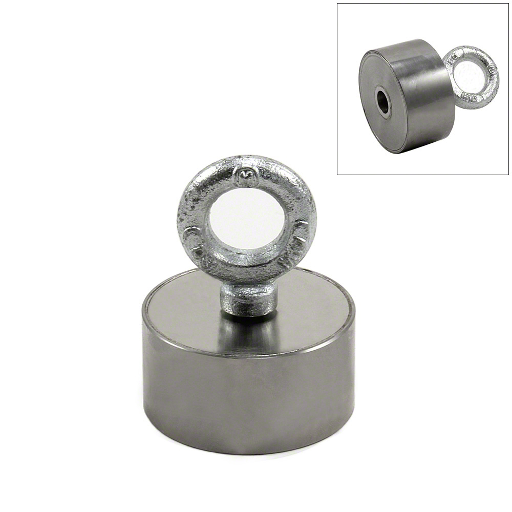stainless steel neodymium recovery magnet with m10 eyebolt 80kg pull. Black Bedroom Furniture Sets. Home Design Ideas
