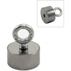Stainless Steel Neodymium Recovery Magnet with M10 Eyebolt - 80kg Pull